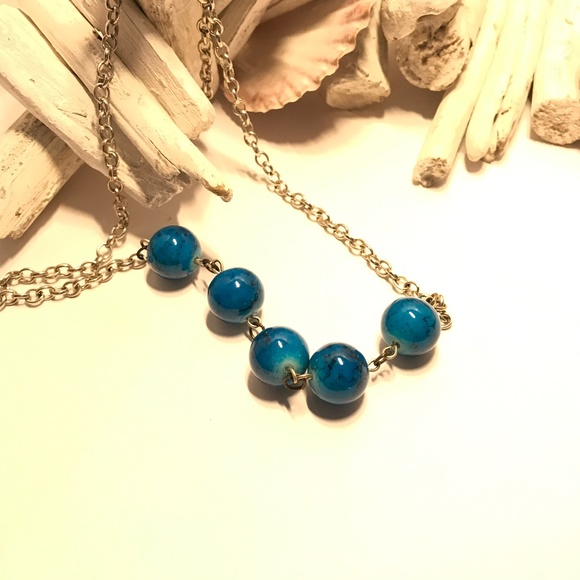 Express Gold and Turquoise Coloured Necklace.